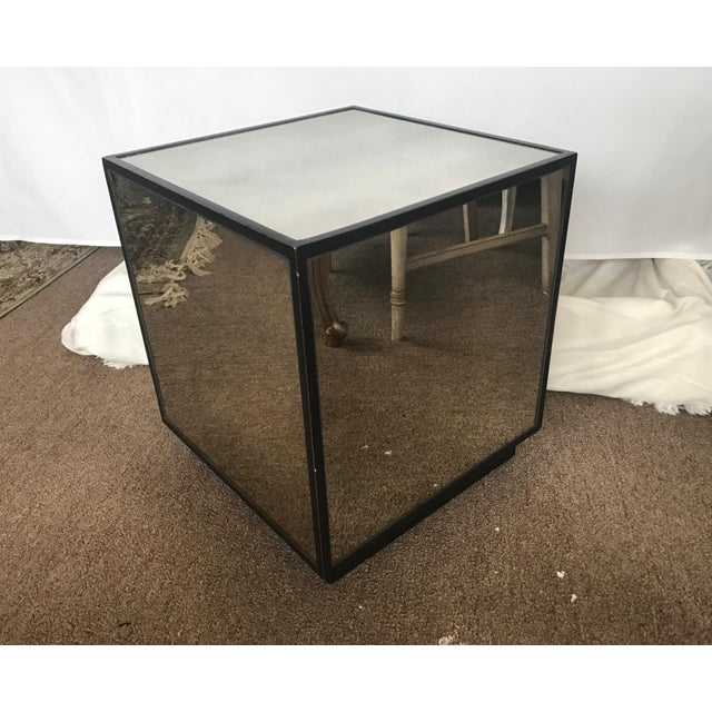 Ralph Lauren Style Antiqued Glass Cube Side Table - Image 5 of 7