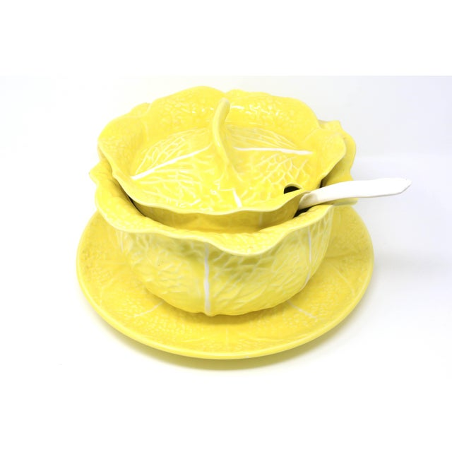 Vintage Secla Yellow Cabbage Soup Tureen With Lid, Ladle and Underplate - Set of 4 For Sale - Image 13 of 13