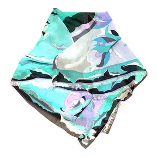 21st Century Pucci Contemporary Oversized Geometric Print Silk Chiffon Scarf For Sale