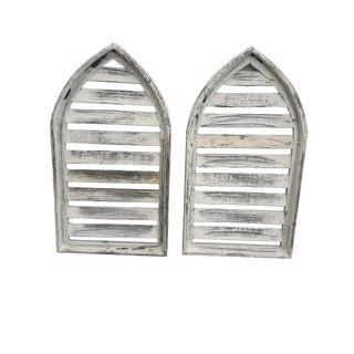 Pair Rustic Architectural Farmhouse Shabby Cottage Cathedral Wall Shutters Windows For Sale