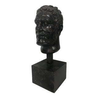 1970s Large Figurative Romanesque Bust Wooden Statue Sculpture For Sale