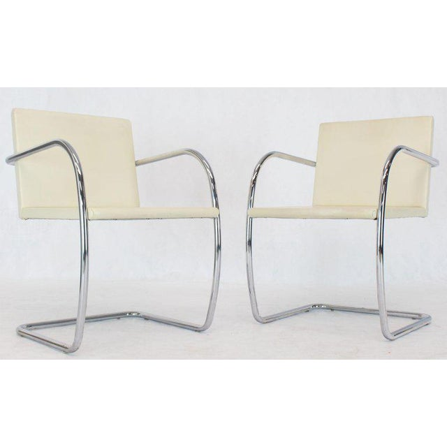 Pair of Thin Pad Tubular Brno Knoll Cream Leather Chairs Midcentury Bauhaus For Sale - Image 13 of 13