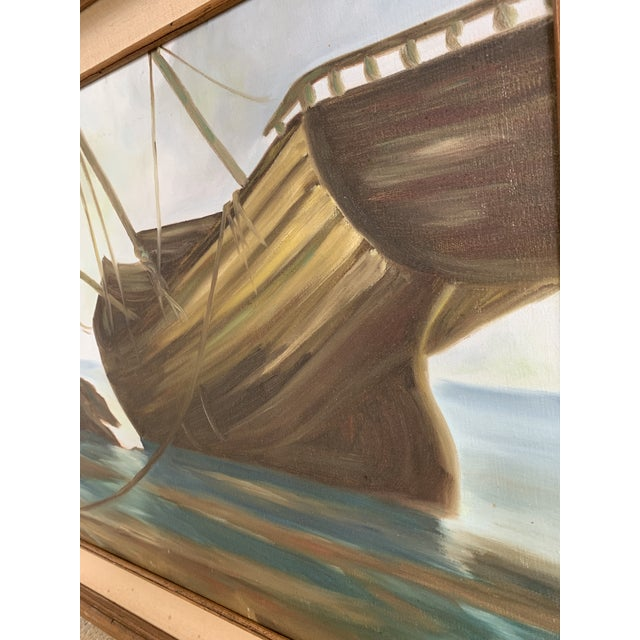 Nautical Vintage Mid-Century Shipwreck Framed Oil Painting For Sale - Image 3 of 5