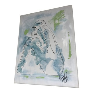 """""""Blue Girl # 2"""" Original Abstract Painting"""