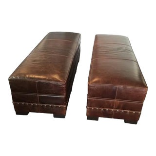 Traditional Arhaus Dark Brown Leather Benches With Storage - a Pair For Sale
