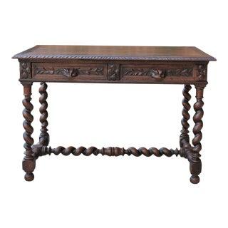 Antique French Oak Barley Twist Desk Bureau Plat Table With Drawers For Sale