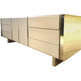 1970s Art Deco Shagreen and Gold Mirror Chrome Cabinet For Sale