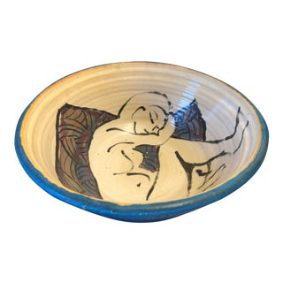 Vintage Decorative Studio Pottery Bowl With Nude Painting For Sale