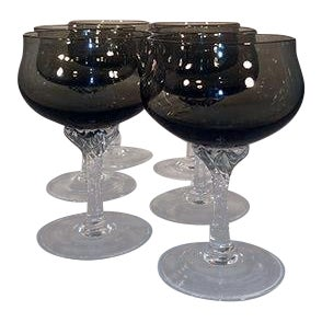 Late 19th Century Sasaki Twisted Stem Smoke & Translucent Black Cordial Glasses - Set of 6 For Sale