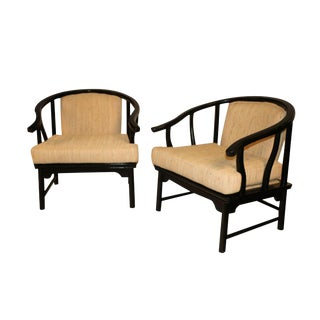 Chinese Style Black Lacquer Horseshoe Arm Chairs - A Pair