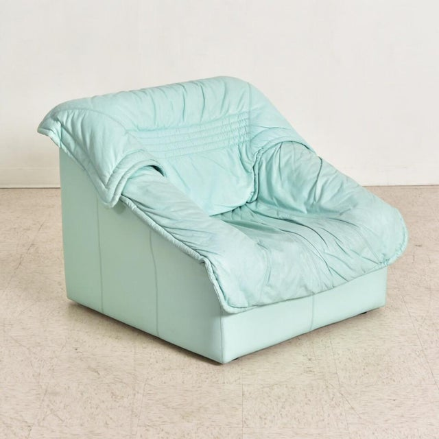 "1980's Vintage Imbottiti Italian Mint Green Leather ""Wilma"" Lounge Chair For Sale - Image 10 of 10"
