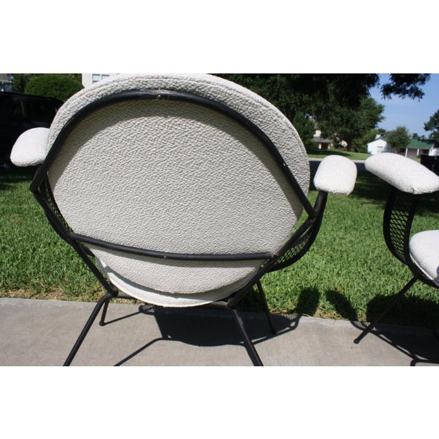 Mid-Century Modern Mathieu Matégot Style Perforated Iron and Bouclé Upholstered Armchairs For Sale - Image 9 of 13
