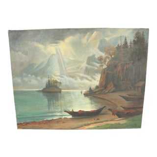American Classical Oil on Canvas Landscape, the Rocky Mountains After Bierstadt For Sale