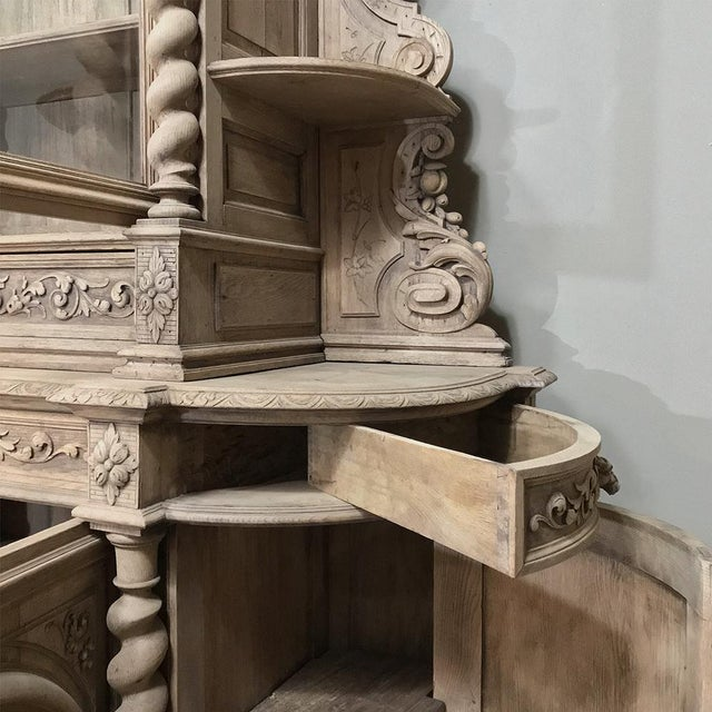 19th Century Renaissance Stripped Oak Hunt Bookcase For Sale - Image 10 of 13