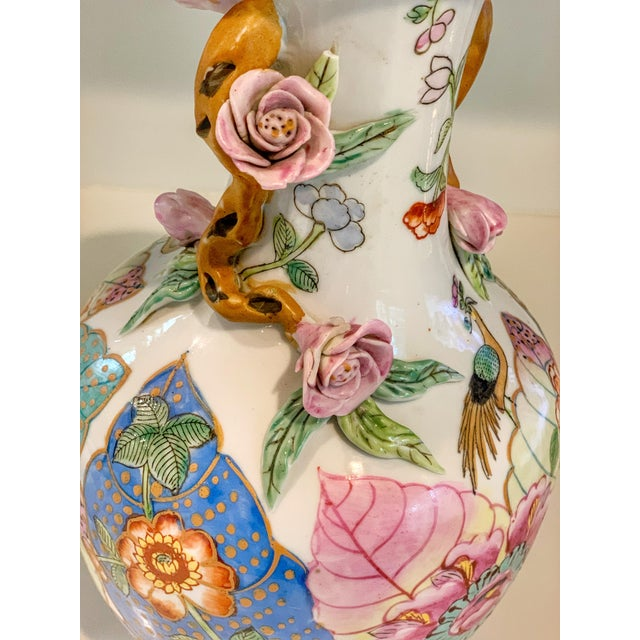 Ceramic Tobacco Leaf Vase With Applied Flowers For Sale - Image 7 of 8