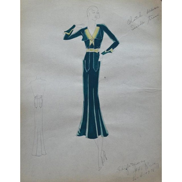 Original Edith Sparag Sketch New York Fashion 1930 For Sale