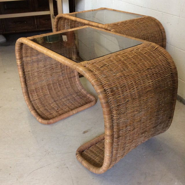 Vintage Wicker Glass Top Waterfall Side Tables - a Pair For Sale - Image 4 of 11