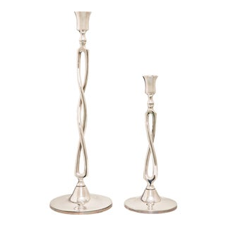 Contemporary Ralph Lauren Silver Candlesticks - a Pair