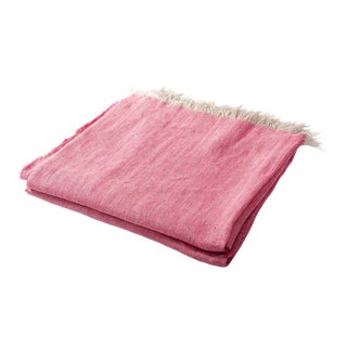 Contemporary Fuchsia Linen Throw For Sale
