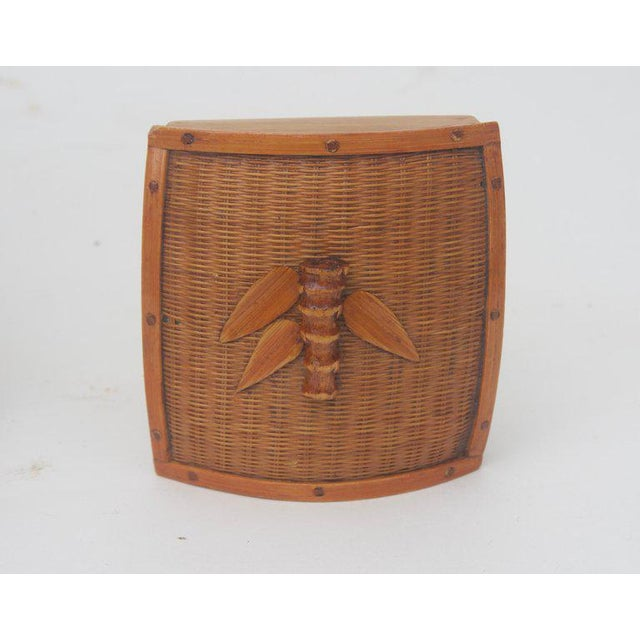 Vintage Mid-Century Handwoven Straw Ram Figure Box For Sale - Image 9 of 13