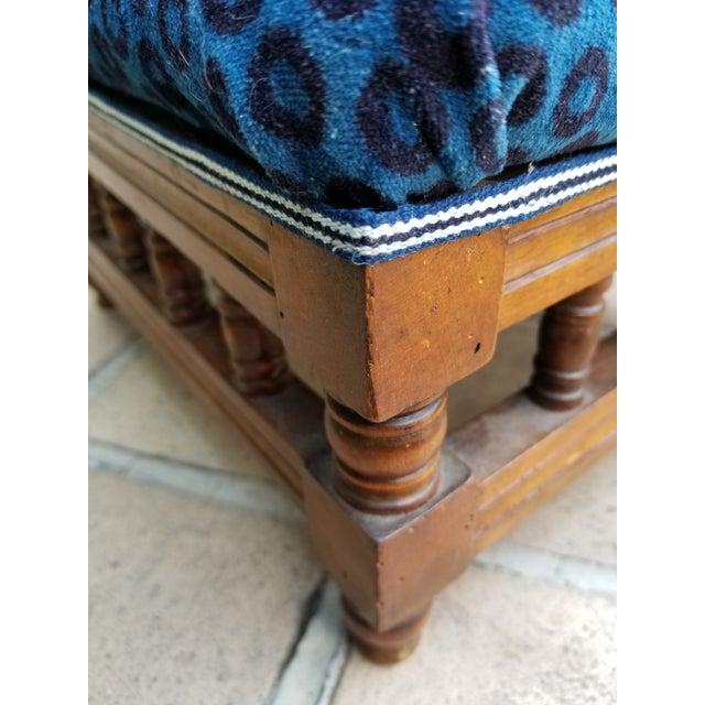 Antique Leopard Velvet Footstool For Sale - Image 4 of 6