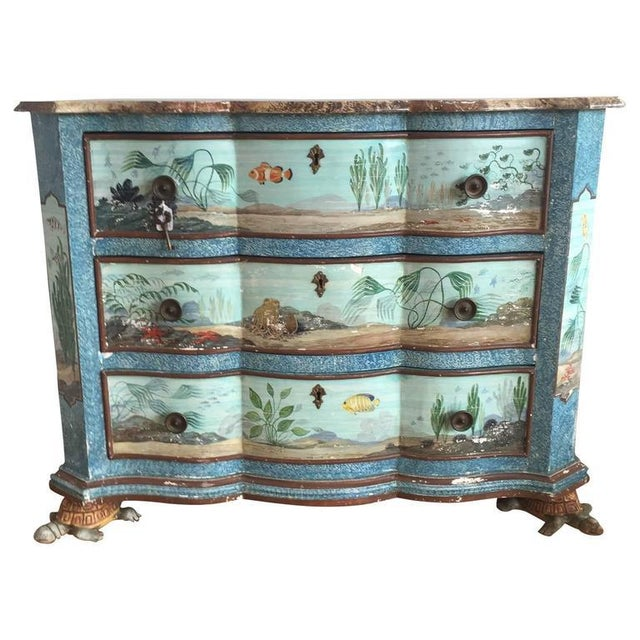 Blue Hand-Painted Aquatic Turtle-Footed Chest Dresser For Sale - Image 8 of 8