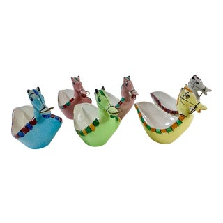 Italian Hand-Painted Ceramic Horse Bowls in the Manner of Bitossi - Set of 6 For Sale