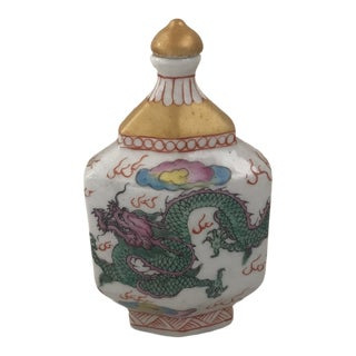 Chinese Chinoiserie Colorful Dragon Porcelain Bottle For Sale