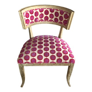 Global Views Klismos Chair With Manuel Canovas Fabric For Sale