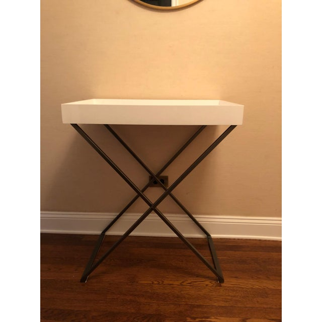West Elm White Tray With Stand Chairish - West elm tray table