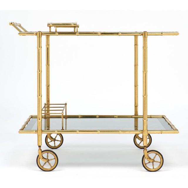 1940s Maison Baguès Faux Bamboo Bar Cart - Image 2 of 9