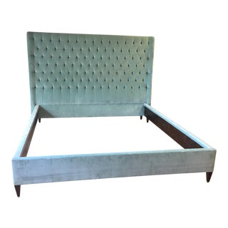 Vintage Tufted Celadon Velvet King Bed