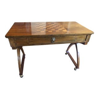Vintage Chessboard Inlay Desk For Sale