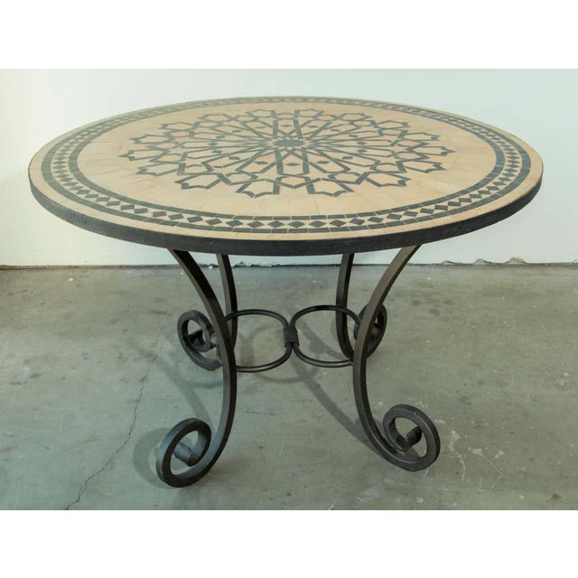 Moroccan Moroccan Mosaic Tile Table in Fez Moorish Design For Sale - Image 3 of 11