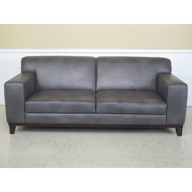 Modern Grey Leather 2 Cushion Sofa For Sale - Image 11 of 11