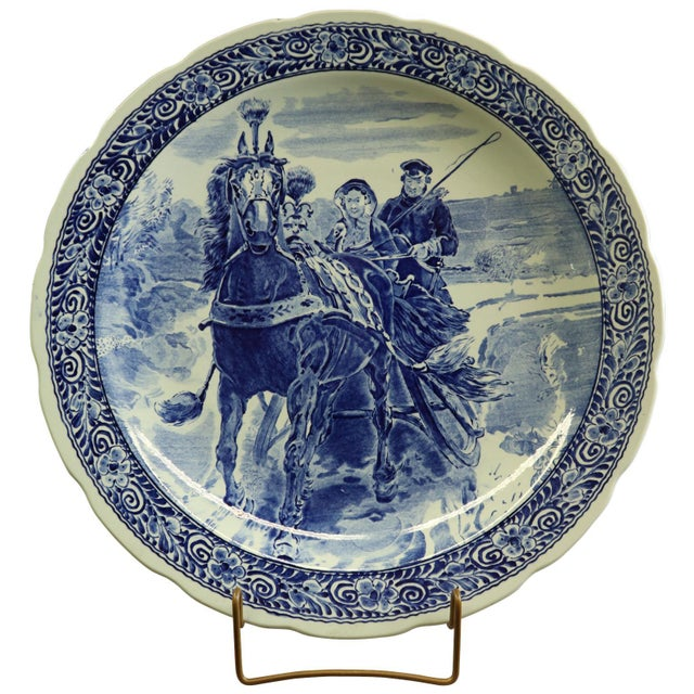 1950s Plate, Boch Royal Sphinx Blue Delft Carriage Large For Sale - Image 5 of 5