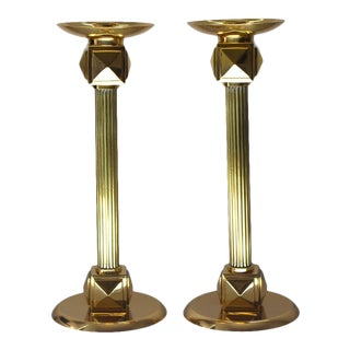 Vintage Larry Laslo Candle Holders Brass Art Deco Revival Candlesticks - a Pair For Sale