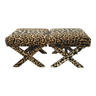 Leopard Print Upholstered X-Benches - a Pair