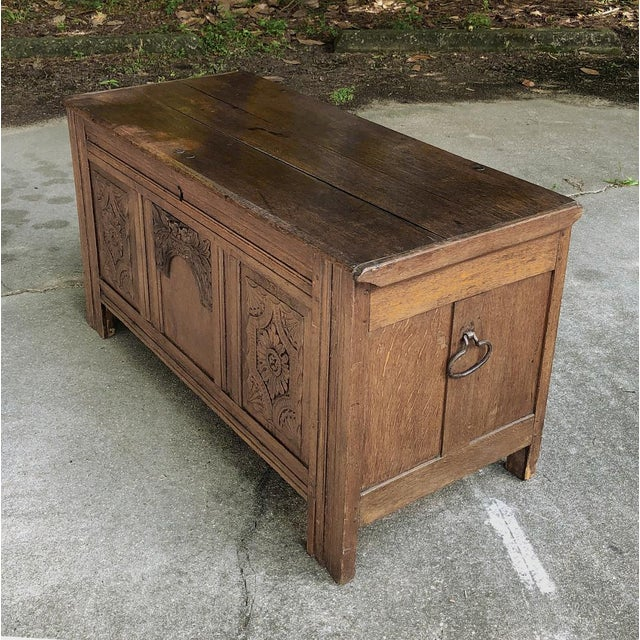 French Country Early 19th Century Country French Rustic Oak Trunk For Sale - Image 3 of 13