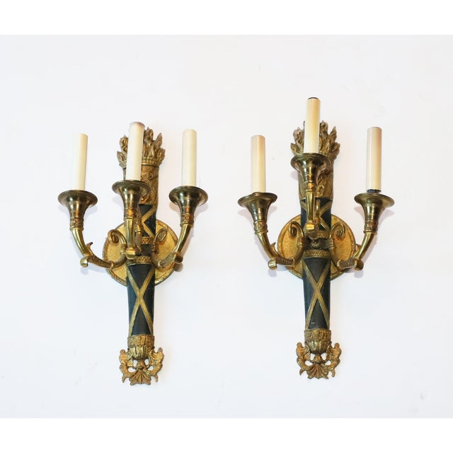Gold Original 1931 French Torch Sconces From Waldorf Astoria New York City - a Pair For Sale - Image 8 of 8