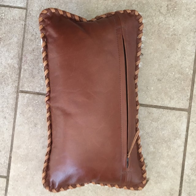 Handmade Leather & Cowhide Lumbar Texas Pillow For Sale In Austin - Image 6 of 11