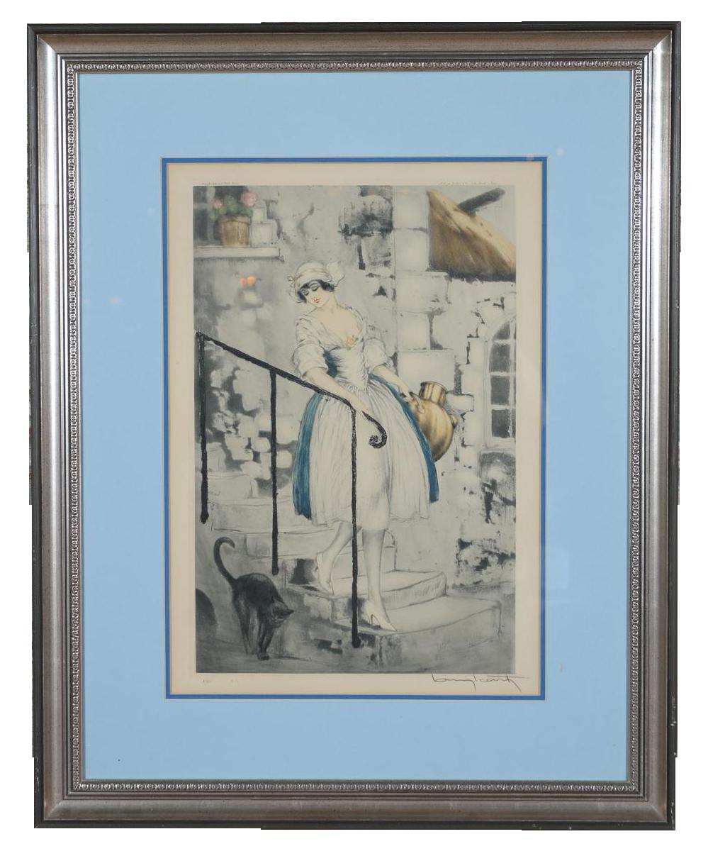 louis icart milkmaid original 1928 etching chairish