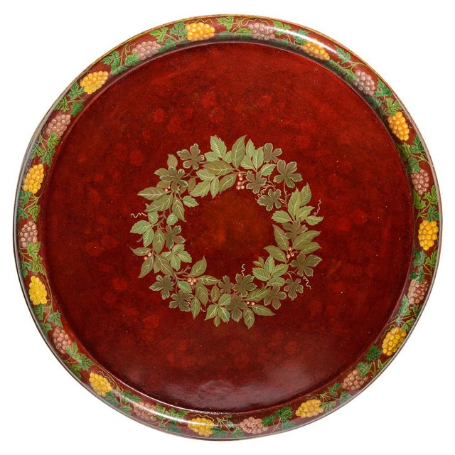 """Antique Floral Tole Tray, 48"""" Across, C.1890 French For Sale - Image 12 of 12"""