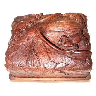 19c Japanese Carved Frog and Waterlily Wooden Box