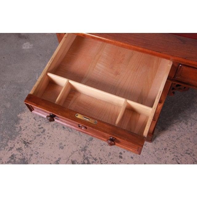 Red Harden Sleepy Hollow Collection Leather Top Partner Desk For Sale - Image 8 of 12