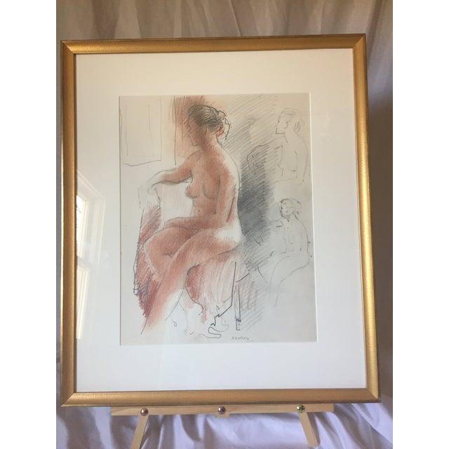 Adolf F Konrad Mid-Century Nude Drawing For Sale In Philadelphia - Image 6 of 6