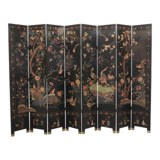 Chinoiserie 8 Panel Room Divider Folding Screen For Sale
