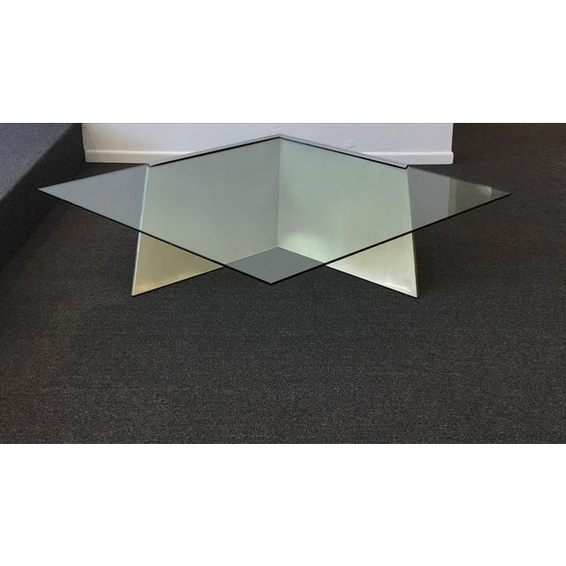 Brushed Stainless Steel and Glass Cocktail Table by Brueton - Image 7 of 9