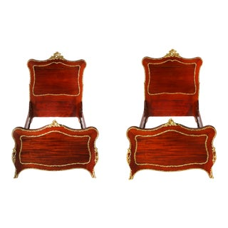 19th Century Mahogany Wood / Bronze Details Pair Twin Beds For Sale
