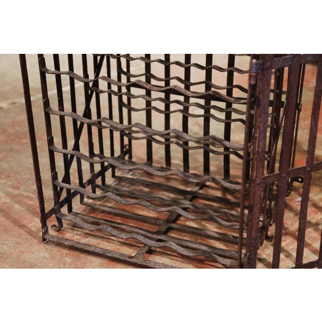 19th Century French Iron Hundred-Bottle Wine Rack Cabinet From Burgundy For Sale - Image 4 of 9
